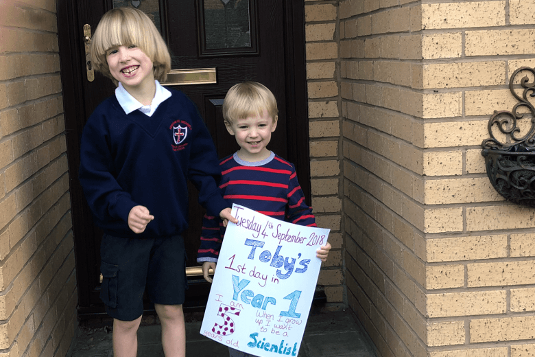 Toby and Gabe ready for a new year at school and nursery
