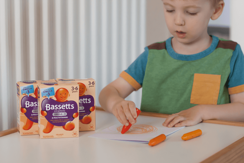 Gabe drawing his picture to show what he thinks Bassetts vitamins taste like