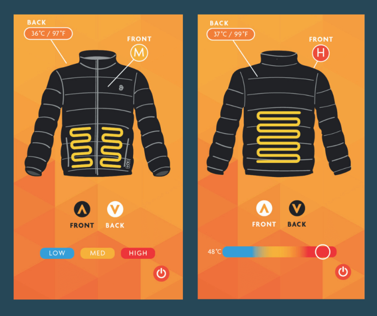 Control the 8K Flexwarm jacket from the smartphone app