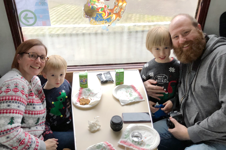 A family portrait on the Santa train