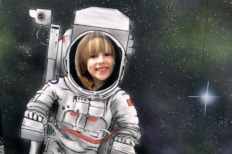 Toby in a spaceman cutout