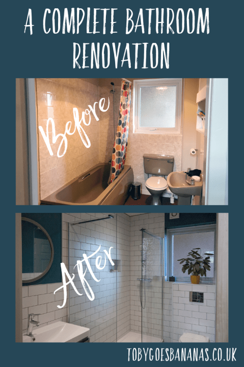 Our complete bathroom renovation - before and after pics from brown and dingy to white, minimalist, neutral shower room. See our lovely teal and mustard bathroom with white metro tiles and walk in shower.