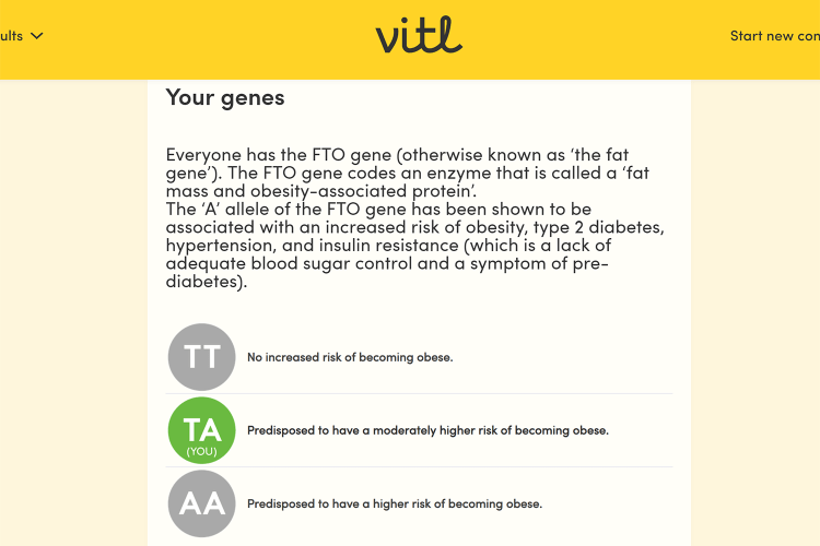 The Fat Gene - Vitl DNA test results