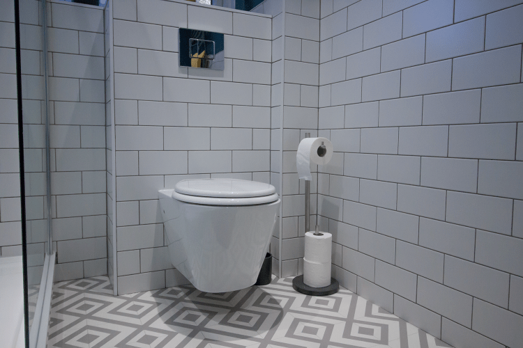 Wall hung toilet and freestanding toilet roll holder