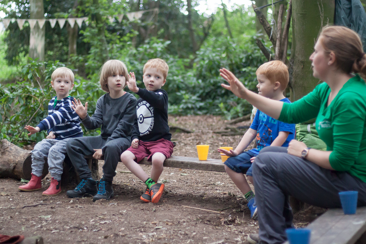 Having a sing song at the end of the Forest School minibeast party