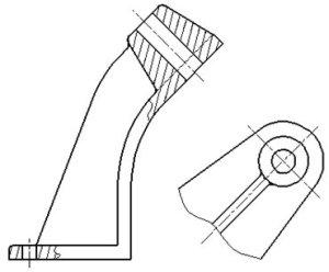 Рисунок 13 - Пример изображения дополнительного вида, находящегося в проекционной связи