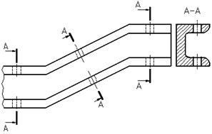 Рисунок 33 - Пример обозначения и изображения одинаковых сечений