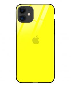 Bright Yellow iPhone 12 Glass Case Cover
