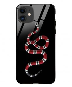 Red Snake iPhone 12 Glass Case Cover