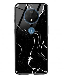 Black Marble Oneplus 7T Glass Case Cover