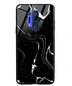 Black Marble Oneplus 8 Pro Glass Case Cover
