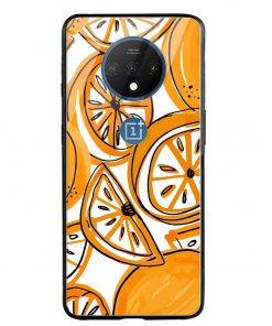 Orange Doodle Oneplus 7T Glass Case Cover