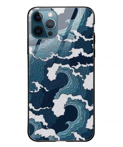 Waves iPhone 12 Pro Max Glass Case Cover
