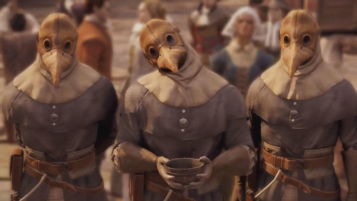 Tres personas con máscaras de la peste.