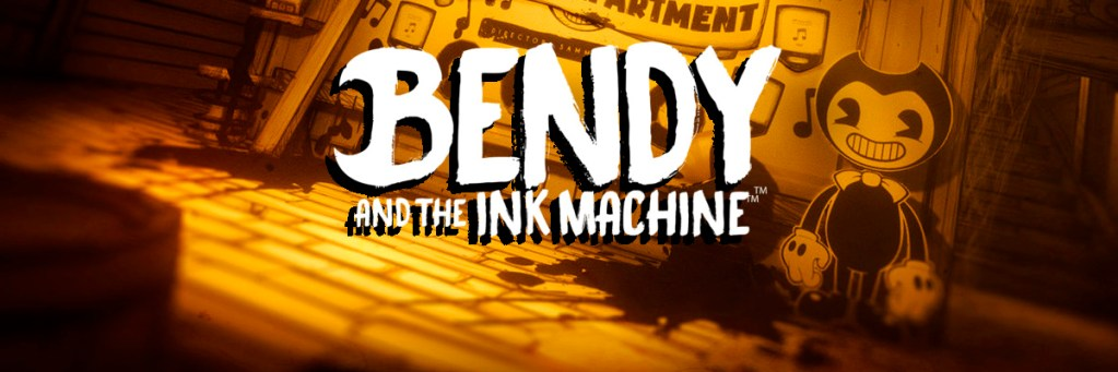 Logo de Bendy and The Ink Machine sobre fondo de una calle una muñeca que recuerda a Betty Boop