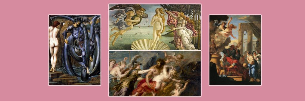 Izquierda: Perseo de Edward Burne-Jones. Centro arriba: El nacimiento de Venus de Boticcelli. Centro abajo: El rapto de Proserpina de Rubens. Derecha: El sacrificio de Ifigena de Boudon.