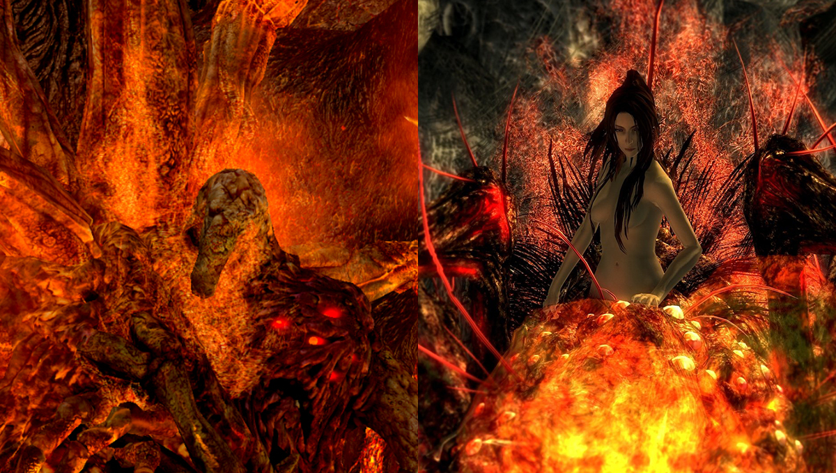 Comparativa entre demonio feo y señora araña