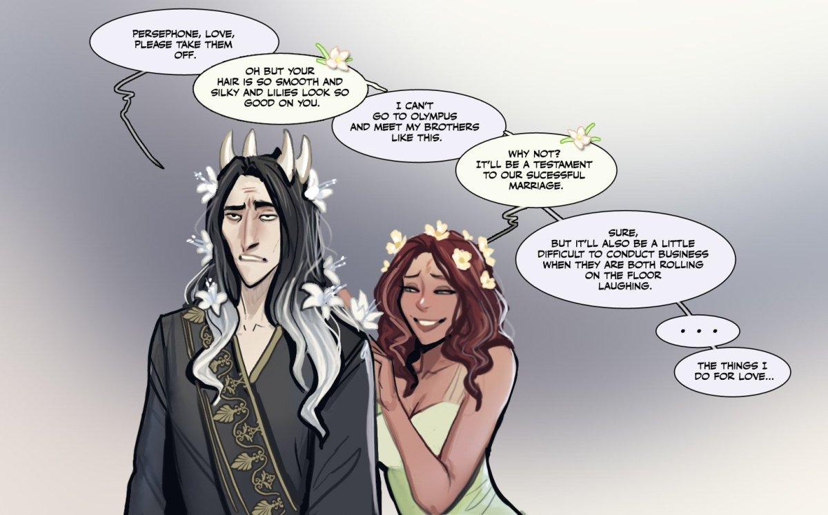 Hades con flores en el pelo y Pérsefone
