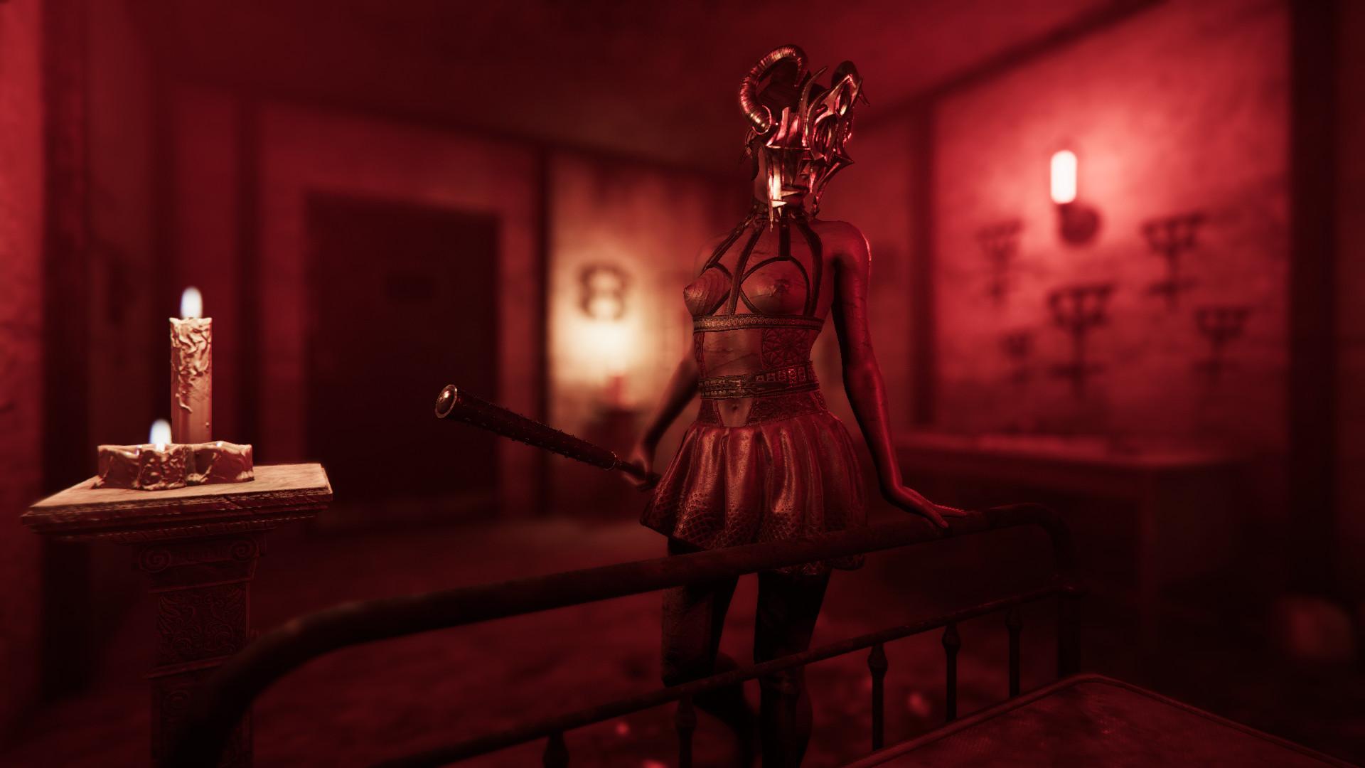 Rhea con un bate en una sala de tortura.