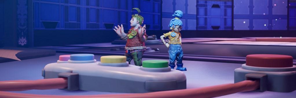 un personaje masculino y un personaje femenino juegan con un mando de consola