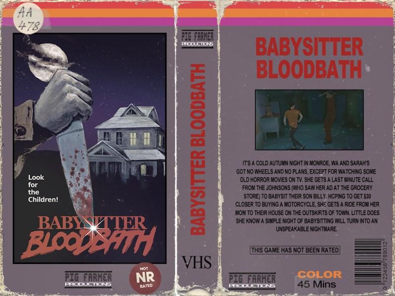 Una falsa carátula de película en VHS, del juego Babysitter Bloodbath. En portada se ve una mano con un cuchillo y una casa al fondo, de noche. En la contraportada hay una captura de la niñera huyendo del asesino, y una sinopsis.
