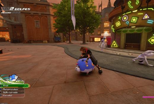 Sora en KH3 sobre un cerdito de goma gigante