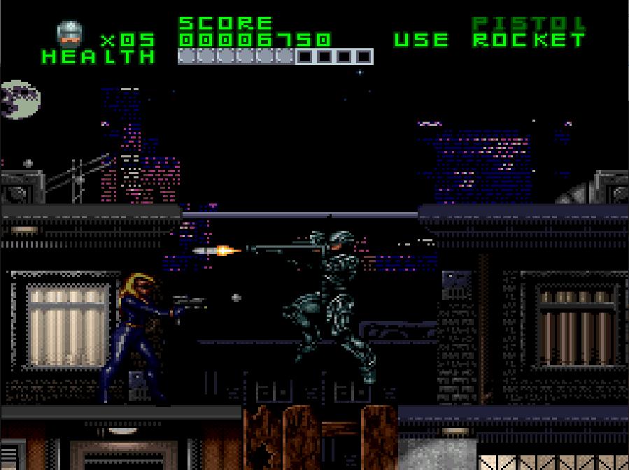 Pantalla de Super Nintendo. Por la noche en la ciudad. Robocop, colgado de una barra con una mano, dispara con la otra un misil hacia una persona que también le dispara.