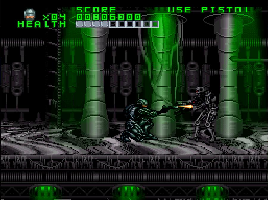 Pantalla de Super Nintendo. En el interior de un edificio futurista de metal, Robocop dispara al esqueleto robótico de un Terminator