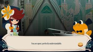 Imagen del videojuego Cris Tales en el que se muestra un diálogo en inglés