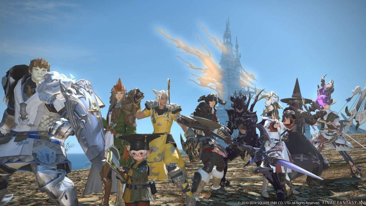 Captura de pantalla oficial del videojuego Final Fantasy XIV Online en el que aparece un grupo de personajes
