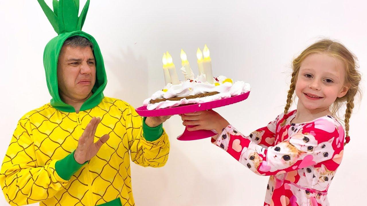 Nastya prepara una tarta a su padre, vestido de piña
