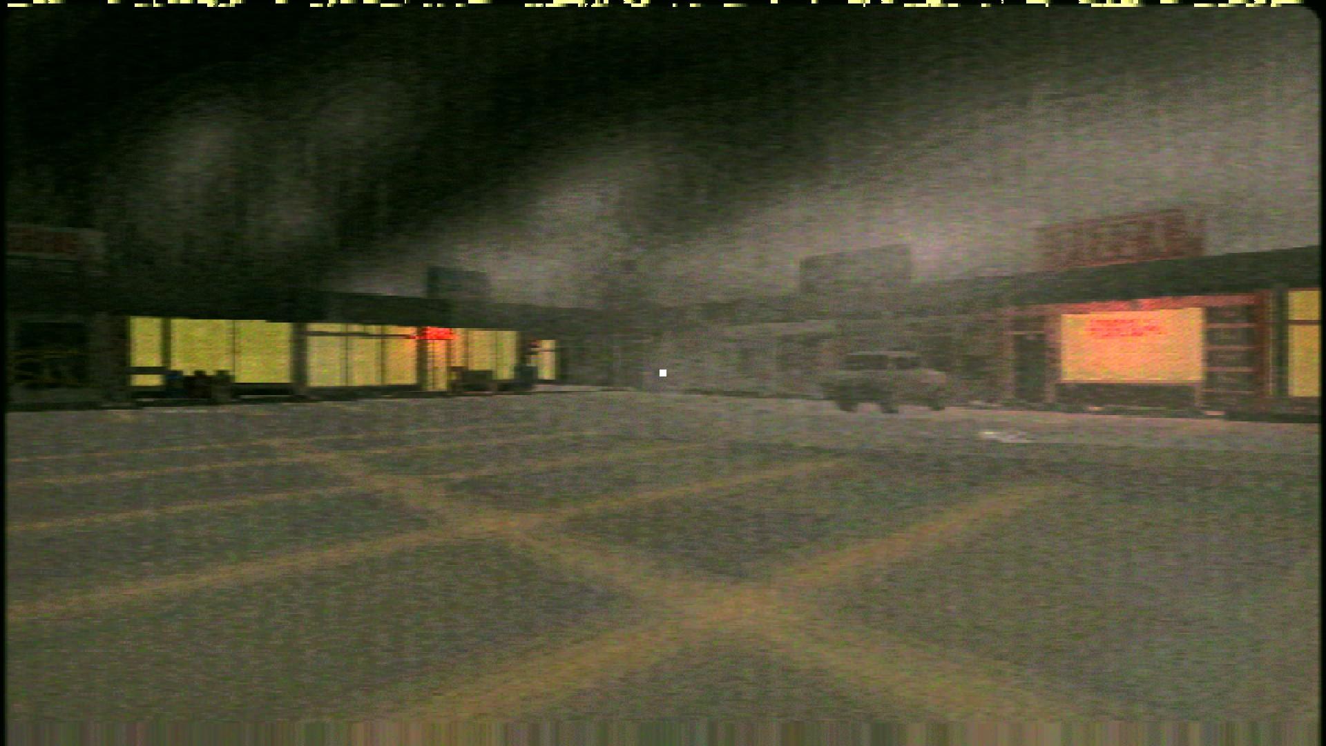 Un escenario low-poly. Desde el aparcamiento, se ven varias tiendas a unos metros de distancia. Solo unas pocas están encendidas y dan luz. Es de noche y hay niebla.