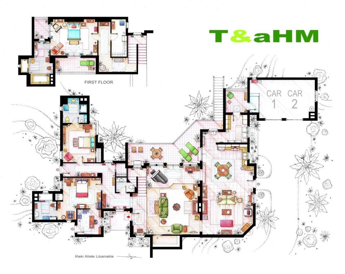Plano de la casa de Dos hombres y medio