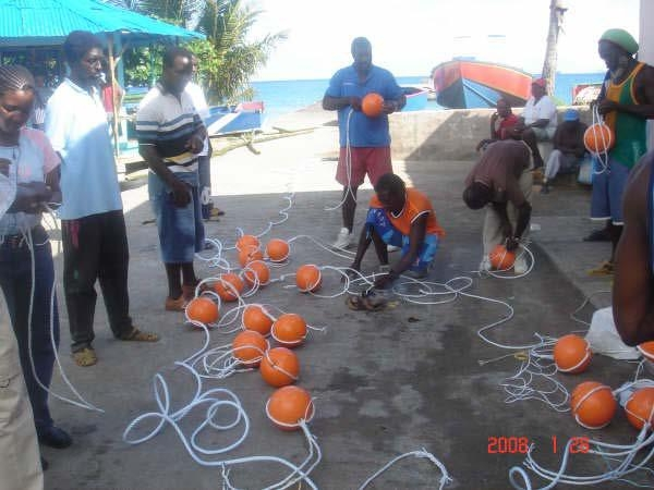 Fishermen assemble Fish Aggregating Devices  (FADs) in Grenada