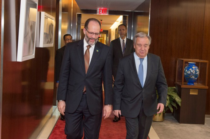 IN STEP: Secretaries-General of CARICOM (R) Ambassador Irwin LaRocque and the UN, H.E. António Guterres (L)