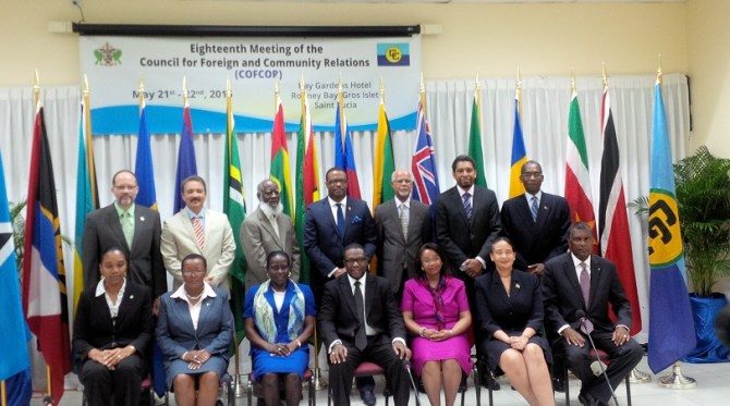 CARICOM Ministers of Foreign Affairs and Secretary-General Ambassador Irwin LaRocque (standing left) at the COFCOR Meeting