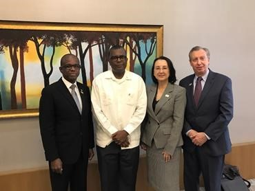 From left: Hugh Riley, CTO secretary general; Bahamas minister of foreign affairs and immigration Fred Mitchell; CHTA president Karolin Troubetzkoy; and CHTA CEO and director general Frank Comito. (Photo via CTO)