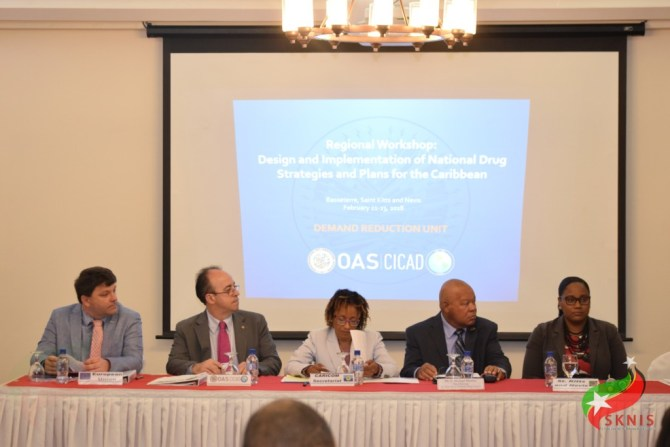 Vice Chairman of the National Drug Council, D. Michael Morton (2nd right) thanked CARICOM, OAS and EU officials