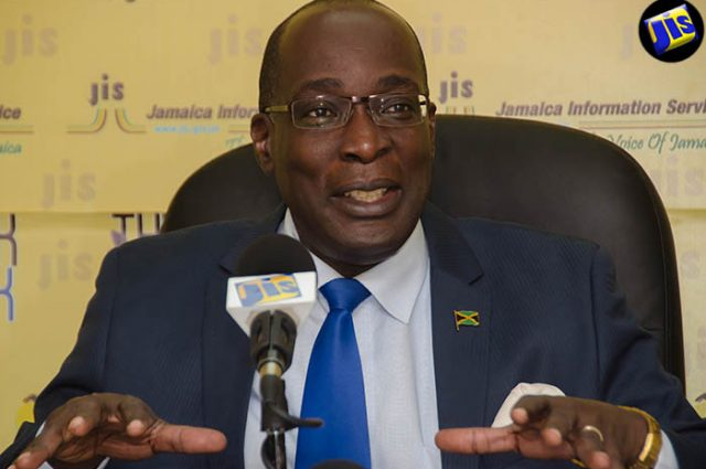 Minister of Education, Youth and Information, Senator Ruel Reid, addresses a recent JIS Think Tank.