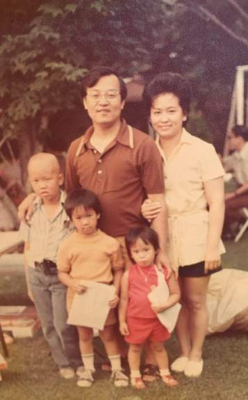 An old family photo shows Gee with his wife and three children.