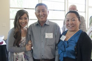 Maifeng Yang, with her parents Joua Yang and Chue Chang (left to right), at the Floyd L. English Scholarship award reception. (Photo by Sam Rivera)