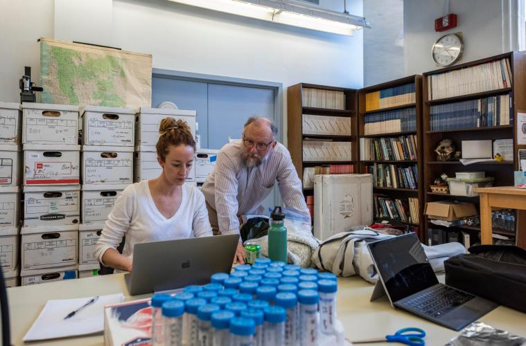 Faculty Ashley Kendell (left) and P. Willey (right) work in the Anthropology Department Human Identification Laboratory.