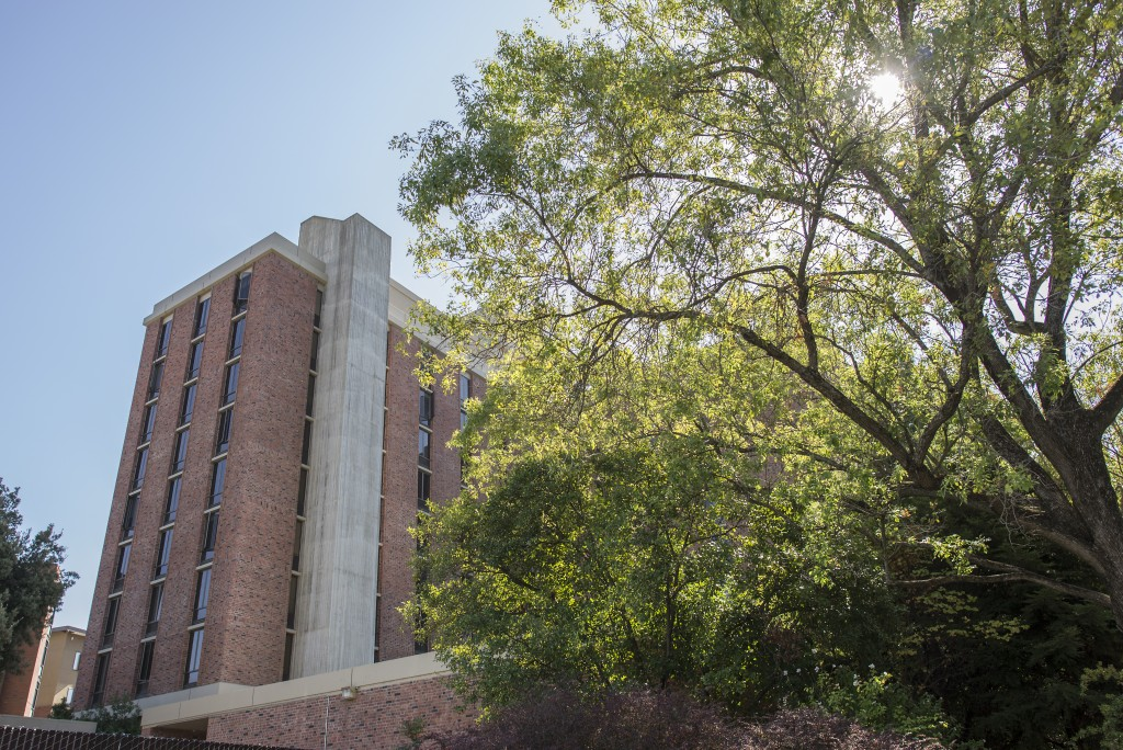 The residence dormitory, Whitney Hall, rises nine stories tall in Chico, Calif. (Jason Halley/University Photographer)
