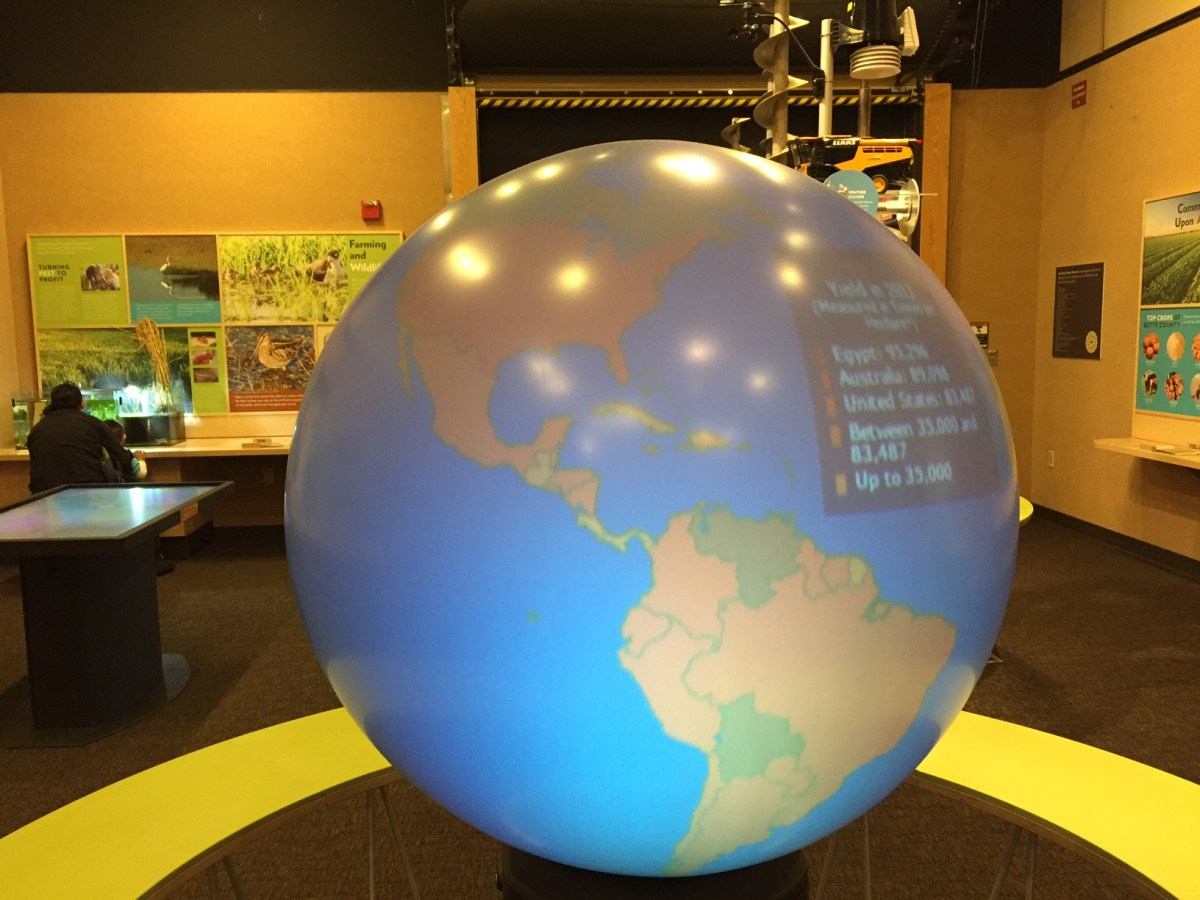 "The GSM's Magic Planet displays ""Modern Farming–Almonds, Rice, and Walnuts."""