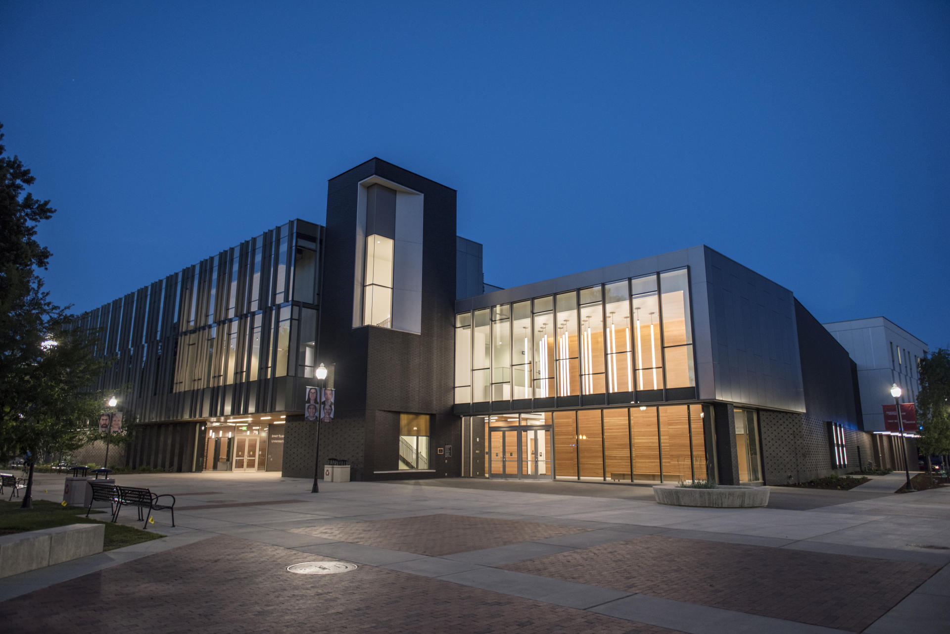 Night falls on the Arts & Humanities Building, opening for the fall 2016 semester.