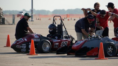 Student Spencer Johnson waits for the next test at the Formula international competition. (Courtesy Luis Mora)