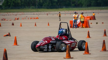 Student Sam Rabellino drives in the endurance race of the Formula international competition. (Courtesy Luis Mora)