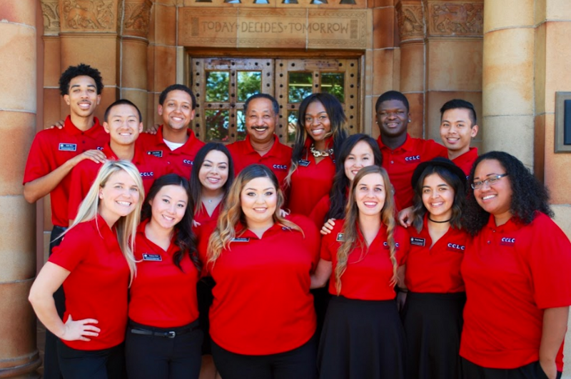 A group of Cross-Cultural Leadership Center students and staff in red shirts.