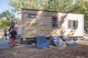 Solar panels provide power for the Chico State Tiny House Club that gave a tour of their 196 sq. ft tiny house to the campus on Wednesday, October 26, 2016 in Chico, Calif. (Jason Halley/University Photographer)