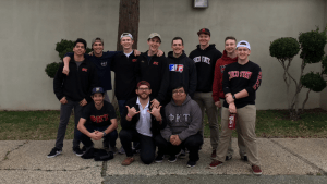 The young men of Phi Kappa Thau volunteered to help evacuees of the Oroville Dam and Spillway at the Silver Dollar Fairgrounds, serving breakfast, cleaning where it was necessary and preparing lunches. Photo courtesy of David Chalem